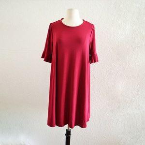 Capsule Ruffle Sleeve Burgundy Dress Size M